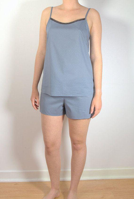 Cotton Pajama Set Women's Sleepwear French Cotton by HiromiParis