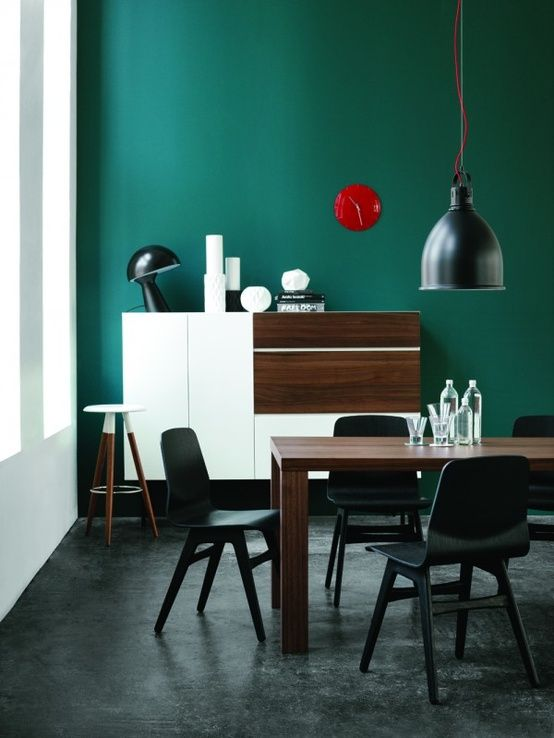 Dramatic wall colour for a bedroom or the studio will work well with dark floors | BoConcept