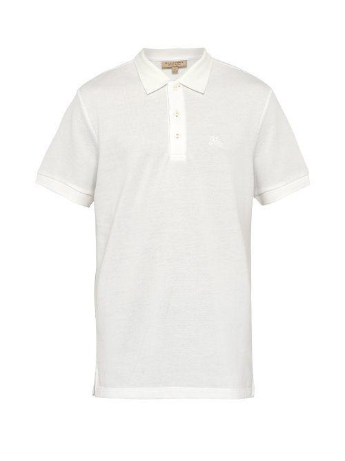 274ab0f4a BURBERRY BURBERRY - LOGO EMBROIDERED COTTON PIQUÉ POLO SHIRT - MENS - WHITE.   burberry  cloth