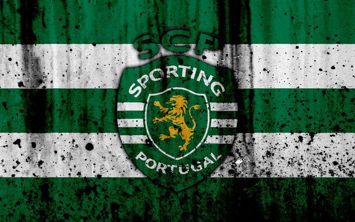 Download imagens FC Sporting, 4k, grunge, Primeira Liga, futebol, arte, Portugal, Esportivos, clube de futebol, textura de pedra, Sporting FC