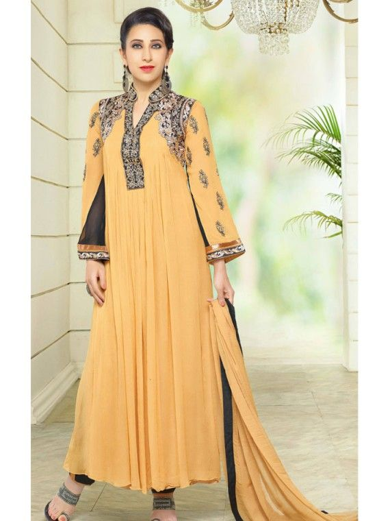 Appreciative Light Orange Karishama Kapoor Trouser Kameez