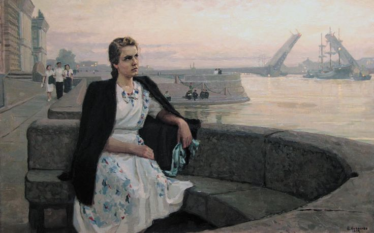 White night on the Neva by B.Nikolaev/ Николаев Б.П. —Белая ночь на Неве.  : 1953 г.