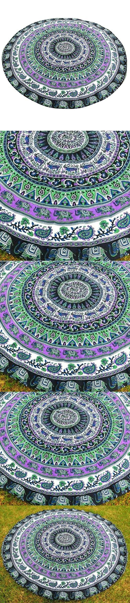 Shufua Durable and Soft Tablecloth Beach Towel , Hippie Hippy Style Yoga Mat,Bedspread, Bed Cover, Table Cloth, Curtain,Wall Hanging,Tapestry, Green Purple