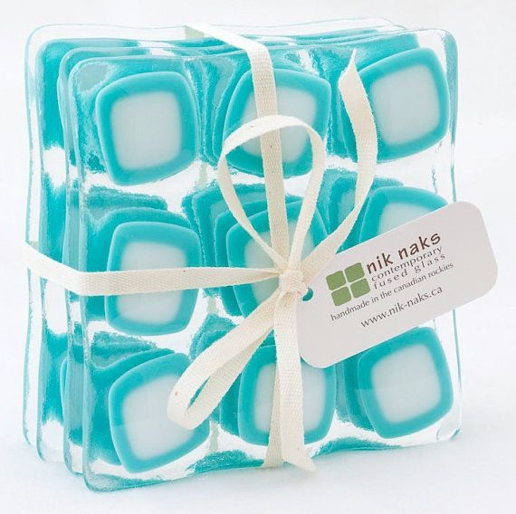 fused glass coasters. aquamarine, white glass coasters. square coasters. set of 4.
