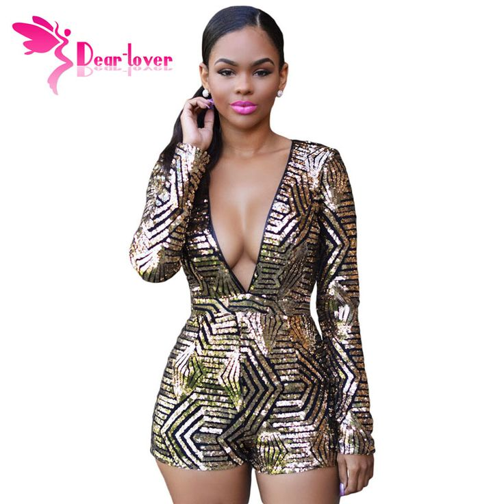 Cher Amant Sexy De Mode Femmes À Manches Longues Salopette Noir Or Sequin Backless Deep-v Shorts Combishort Clubwear Macacao LC60841