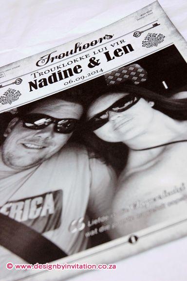 Wedding Invitation Newspaper Trou-Koerantjie Uitnodiging © www.designbyinvitation.co.za