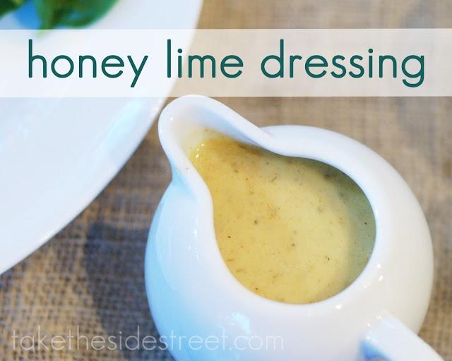 Honey Lime Dressing  Honey Lime Dressing   2 Tbs. fresh lime juice   2 Tbs. Dijon mustard   2 Tbs. rice vinegar   2 Tbs. honey   2 Tbs. fresh chives, minced (or 1 Tbs. dried)   1 tsp. kosher salt   1 clove garlic   1/2 tsp. black pepper   1/4 tsp. cayenne pepper (don't skip it, it's not too hot!)   1/4 c. extra virgin olive oil