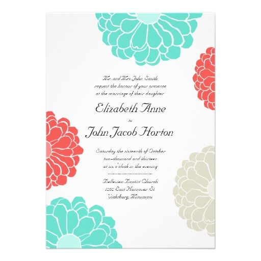 turquoise and coral wedding | Turquoise & Coral Zinnia Flower Wedding Invitation from Zazzle.com
