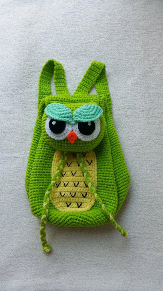 Buho mochila Crochet cumpleaños regalo, regalo de Navidad, ducha bebé, ideal para cualquier childern.