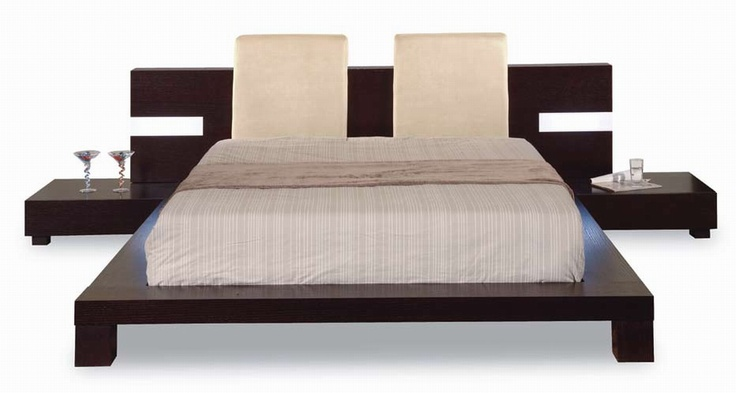 bed frame with attached nightstands for the home
