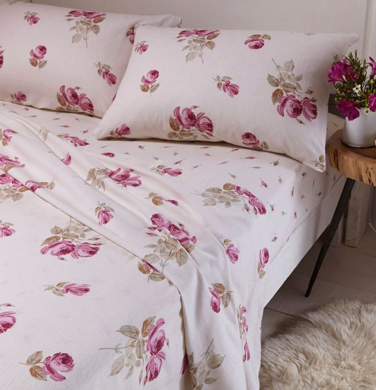Catherine Lansfield Brushed Floral 100% Cotton Flannelette Sheet Set