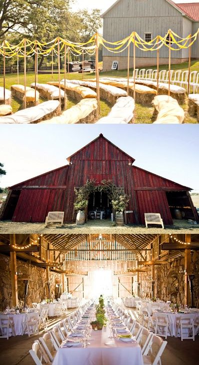 Barn Wedding! Absolutely beautiful!!! Hay bales- great idea and free!
