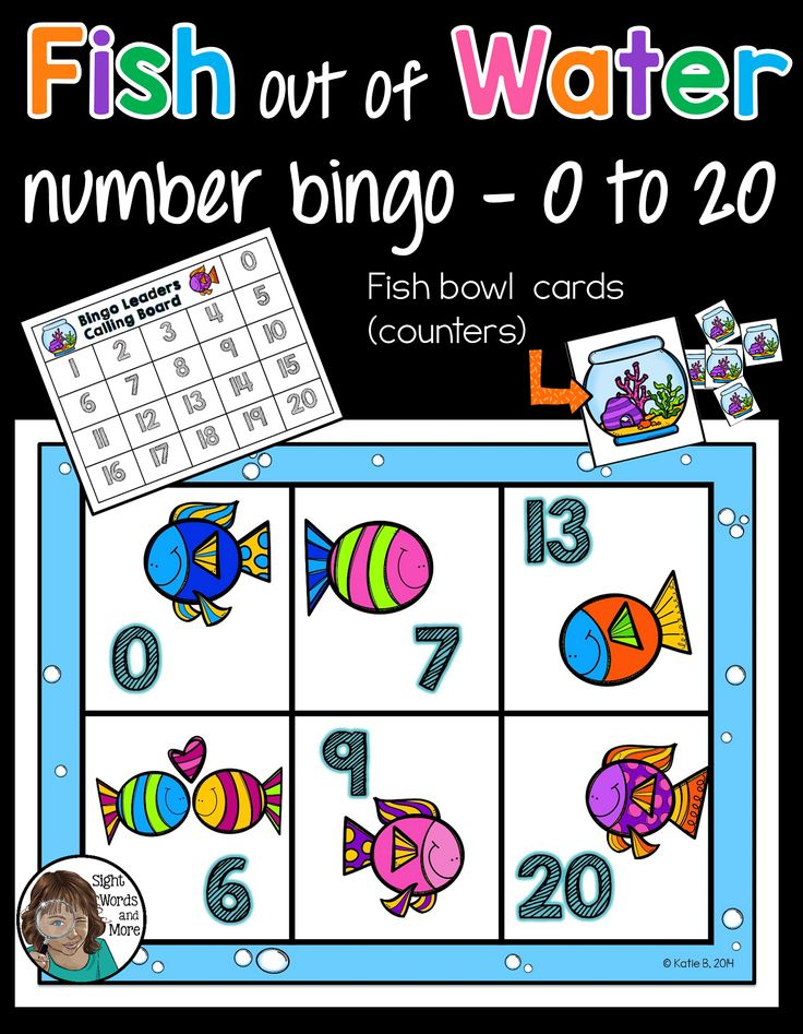 Numbers 0-20 a fun number Identification bingo game. A hands on activity your class will love learning to identify numbers while playing this bingo game 'Fish Out of Water'. It is played just like normal number identification bingo, but players use the �fish bowl� cards as counters to get their fish back to water as they identify the called numbers. Despite the cute theme, the focus of the game remains entirely on identification of digits from 0 to 20.