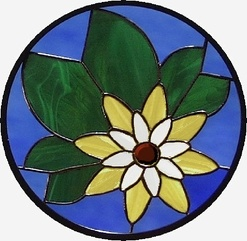 Water lotus stained glass window
