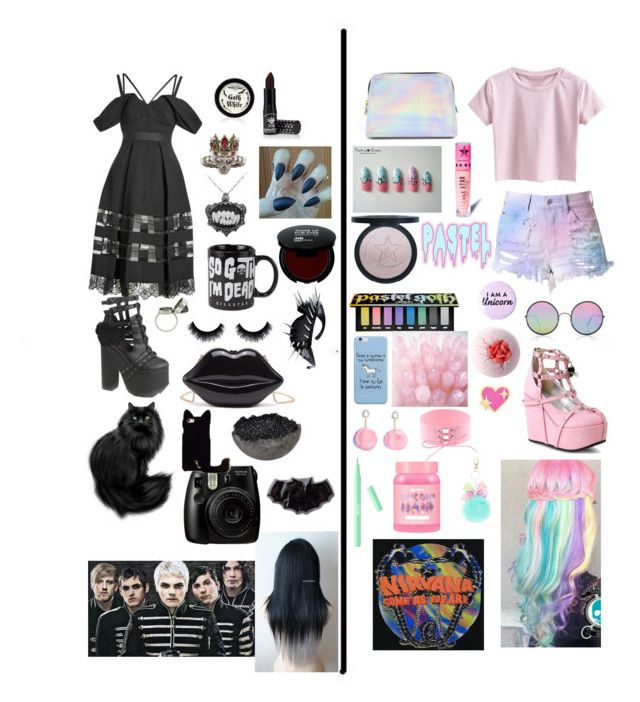 """""""Goth Queen vs. Pastel Princess"""" by doctorandtotoro ❤ liked on Polyvore featuring self-portrait, Alexander McQueen, Manic Panic NYC, Killstar, Demonia, Elyse Jacob, Fujifilm, Jess Panza, Cotton Candy and Sunday Somewhere"""