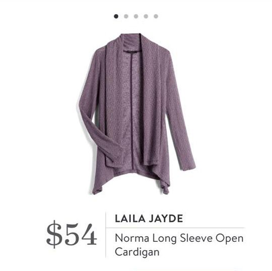 Stitch Fix: Laila Jayde Norma Long Sleeve Open Cardigan $54  Like the style. I already have a cardigan in a similar color, but maybe this style in a different color.