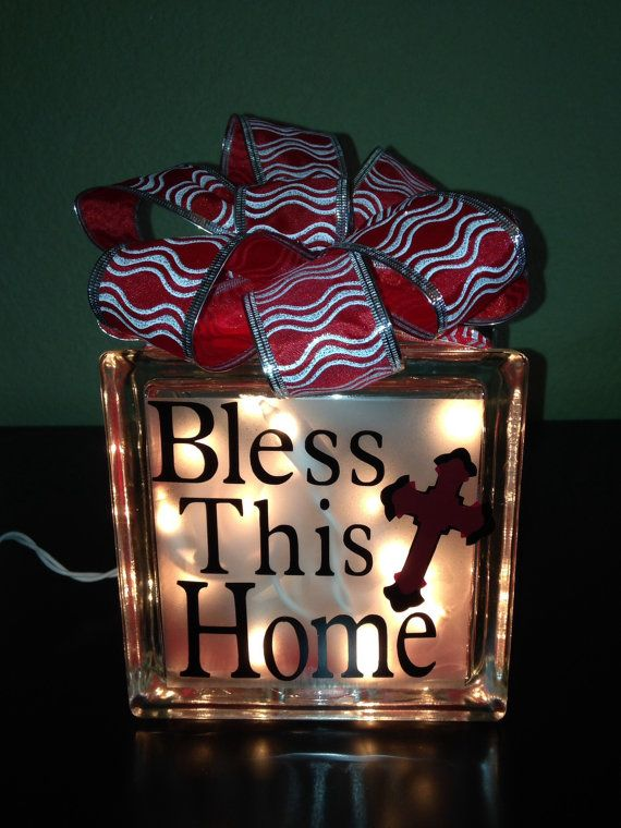Glass block lighted bless this home night by steelhorsegifts 25 00