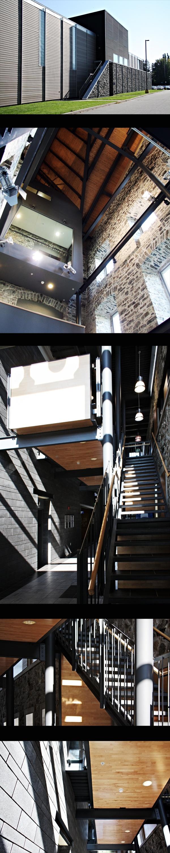 STGM Architectes - École Nationale de Police du Québec, Nicolet   Aménagée dans l'ancien Séminaire de Nicolet, construit au début du 19ème siècle et classé monuement patrimonial par le ministère de la Culture, des Communications et de la Condition féminine, l'ENPQ occupe près de 1 000 000 pieds carrés de construction neuve ou ayant fait l'objet d'une rénovation majeure. (Photos: Alexandre Guérin)