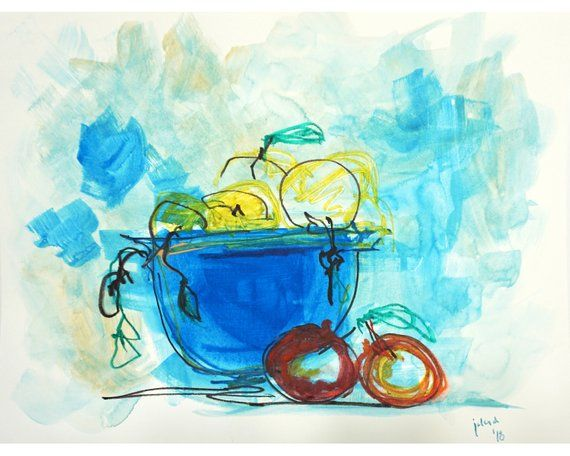 Abstract Watercolor Still Life On Paper 9x12n 22x30cm Painting