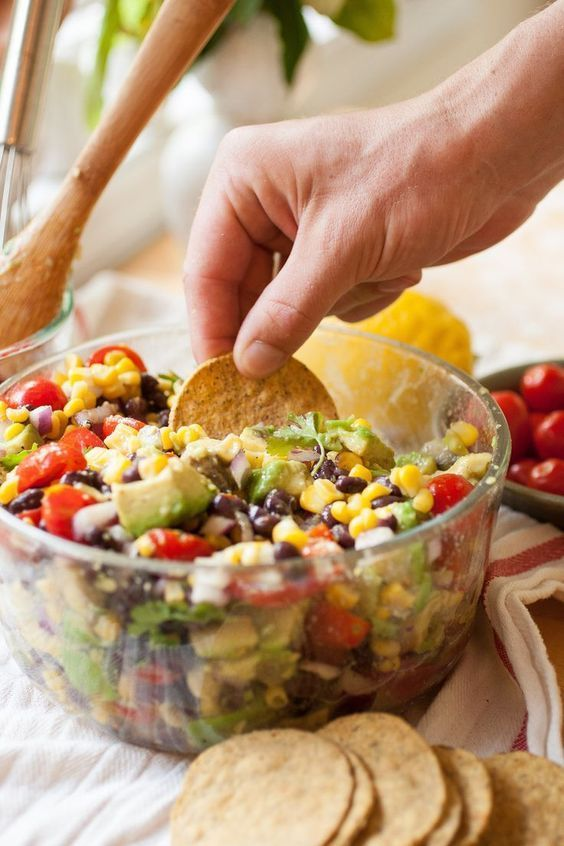 Corn, Avocado & Black Bean Salad-SO good! I use a little over 2 Tbsp lemon juice & 1 tsp cumin. Served w/ tortilla chips to feed a large group!