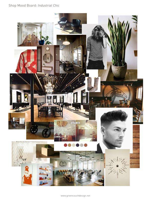 Industrial Chic Salon Mood Board Green Couch Design Hair Salon