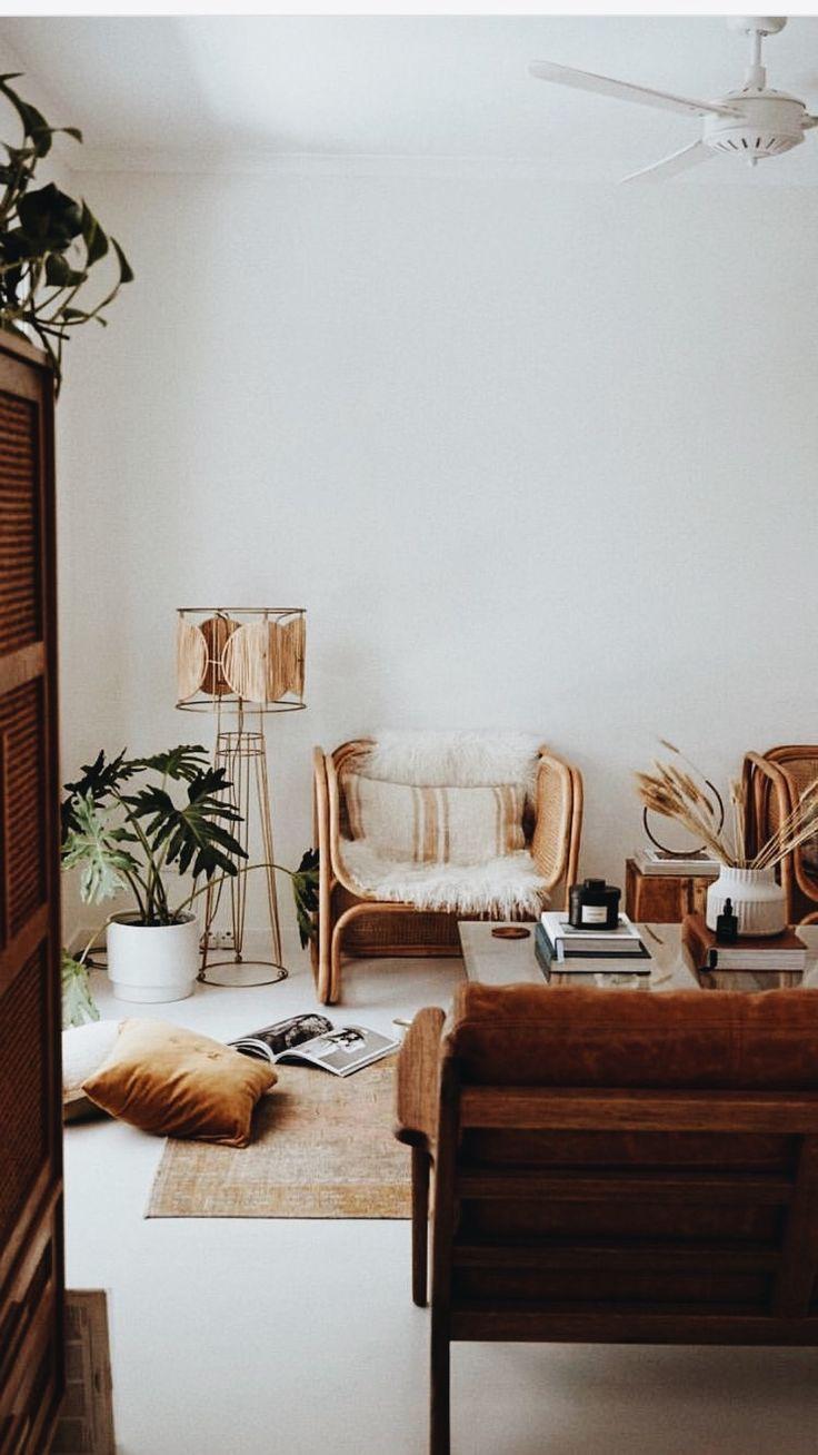 Bohemian Interior Design In Warm Neutral Tones Wicker Chair