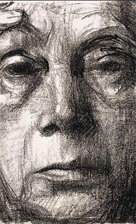 Kathe Kollwitz -eerst vlakken tekenen met zijkant van krijtje, daarna de lijnen. see video: http://m.youtube.com/watch?v=d3lXZyuSYPQ_uri=%2Fwatch%3Fv%3Dd3lXZyuSYPQ.