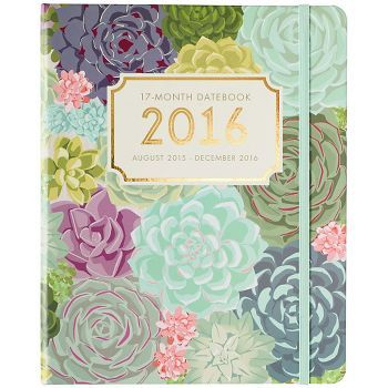 Our beautiful succulent design makes an impact on a smooth matte cover with a hidden spiral. A pop of gold foil makes this planner shine. Includes yearly, weekly and monthly views, as well as a space