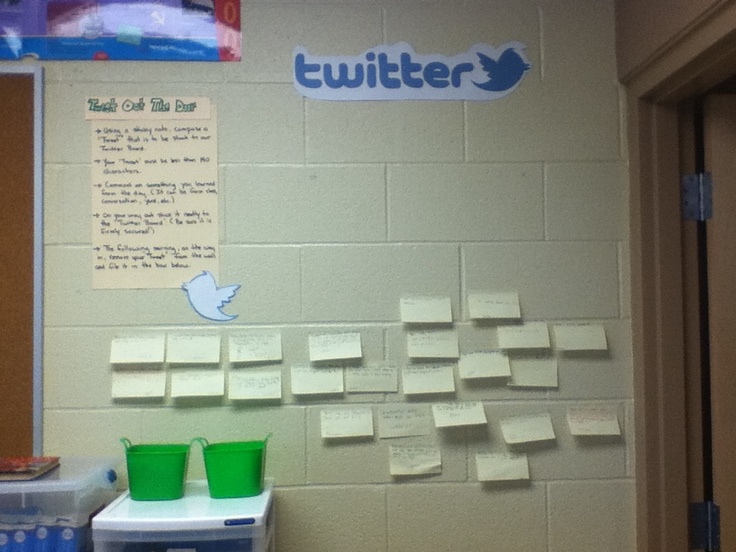 """""""Tweet"""" Out the Door Students compose a tweet that highlights one thing from the day.  They date and @sign their tweet and post it on the wall on the way out.  I select one tweet as the """"Tweet of the Day"""", and showcase it on a separate board.  The following  day this tweet is discussed (""""What made it so successful?) the following day the students take down their tweets and file them, so we can watch their responses grow throughout the year."""