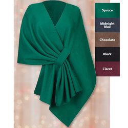 Tuck Shawl.Get a long rectangle of fabric but just long enough to wrap around and cut a couple slits on the long side.