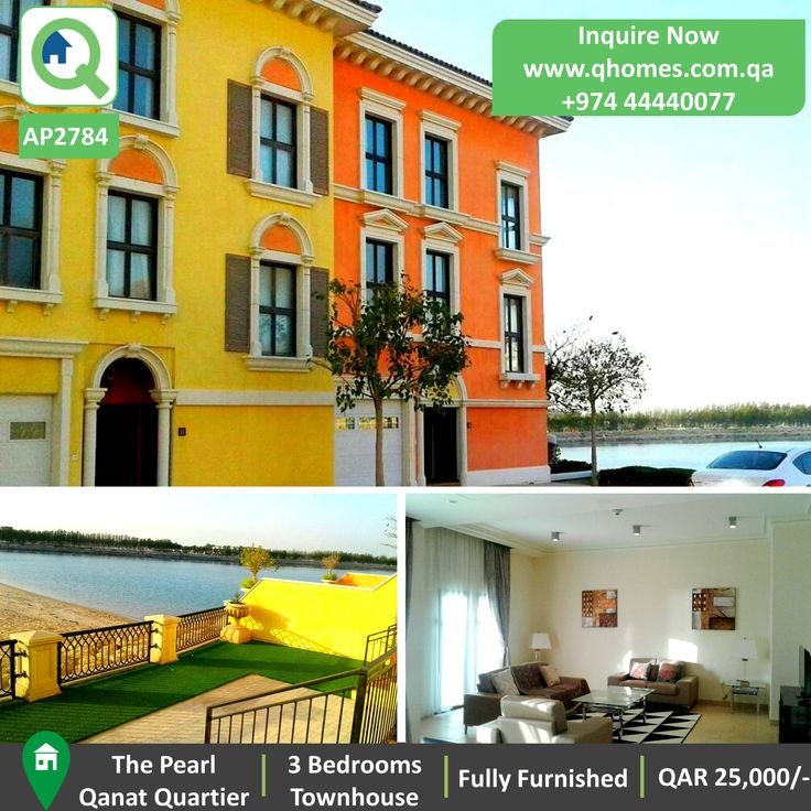 Townhouse for Rent in Pearl - Beach Front Fully Furnished 3 Bedrooms Townhouse in Qanat Quartier at QAR 25,000/-