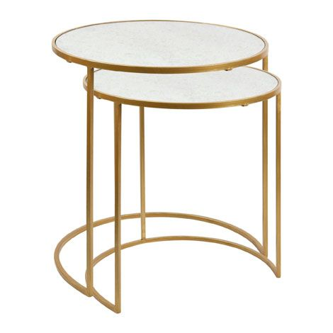 Zara - Gold Nest Table Measurements of the small table: 38 x 40 cm. Measurements of the large table: 44 x 45 cm. Hand painted. Antiqued effect. £129.99