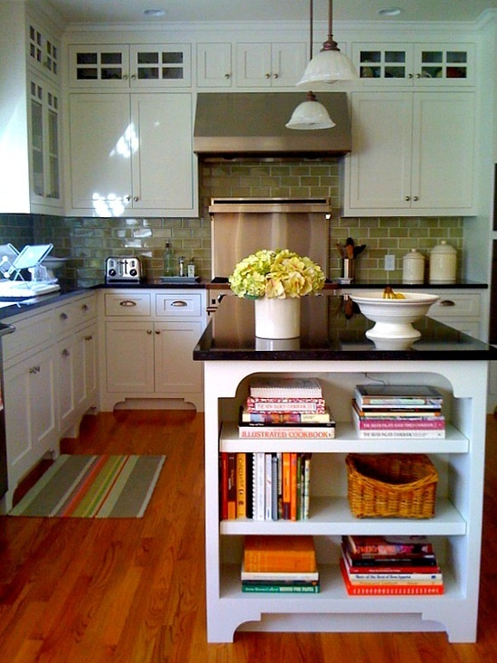 black counters ~ green backsplash tile ~ oak floors ~ white kitchen cabinets and an amazing kitchen island... What more could a girl want.