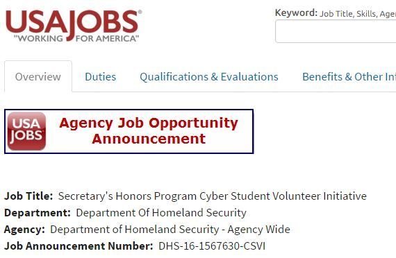Usajobs.Gov+Tsa The DHS Secretary's Honors Program Cyber Student ...