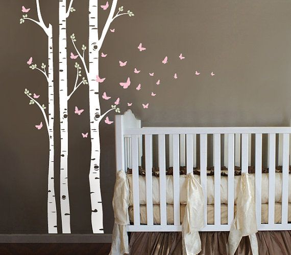 Birch Tree Decal with butterflies Set of 3 Birch by ababywall, $49.00