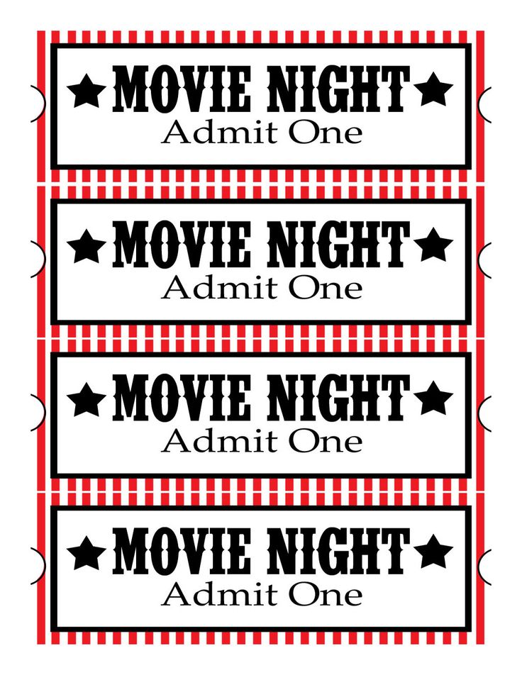 free movie ticket template printable google search family fun night ideas pinterest. Black Bedroom Furniture Sets. Home Design Ideas