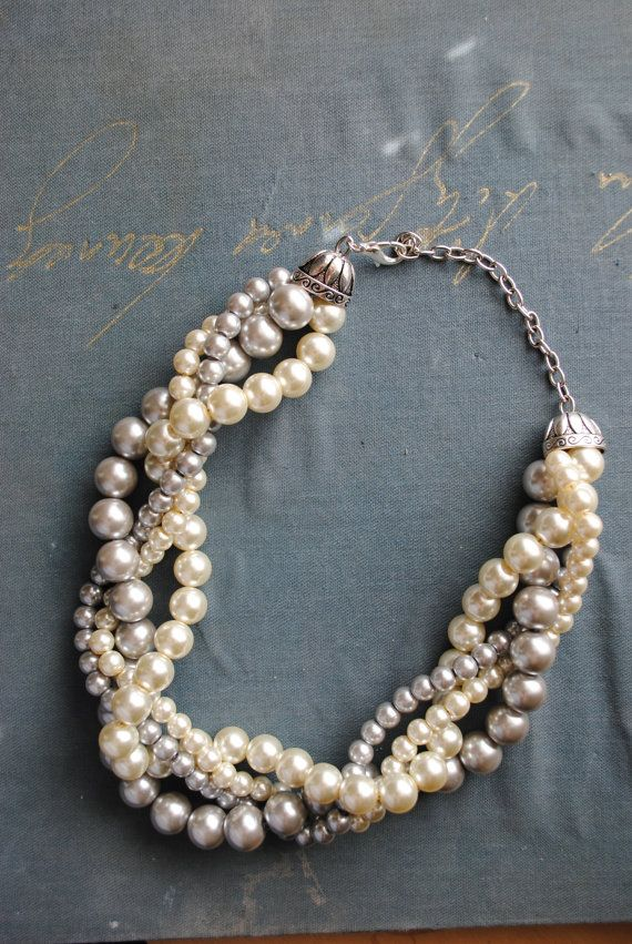 #pin2win This would be such a great statement necklace with my dress! Not too formal, not too casual, just perfect for a beach wedding! Light Grey and Ivory Chunky Pearl Twist 4 by SarahWhiteJewelry, $38.00