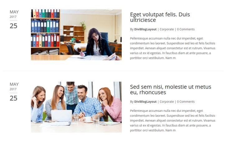 Divi Category Layout for Corporate Blog