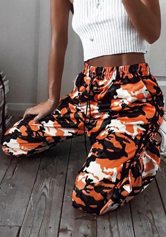 Orange Camouflage Tunnelzug Hohe Taille Lange Beiläufige Oversize Hosen Damen Günstige
