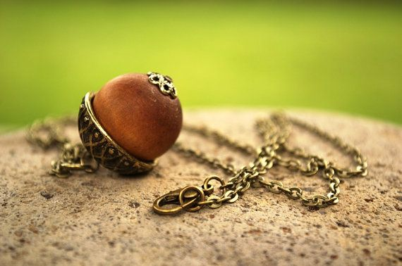Peter Pan Necklace, Fall Necklace  Peter Wendy Kiss, Peter's Kiss Necklace, Once Upon a Time, Acorn Necklace, Wood Acorn,  Autumn Jewelry