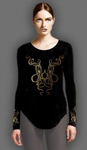 Metallic Gold Spaghetti Black long sleeve tee