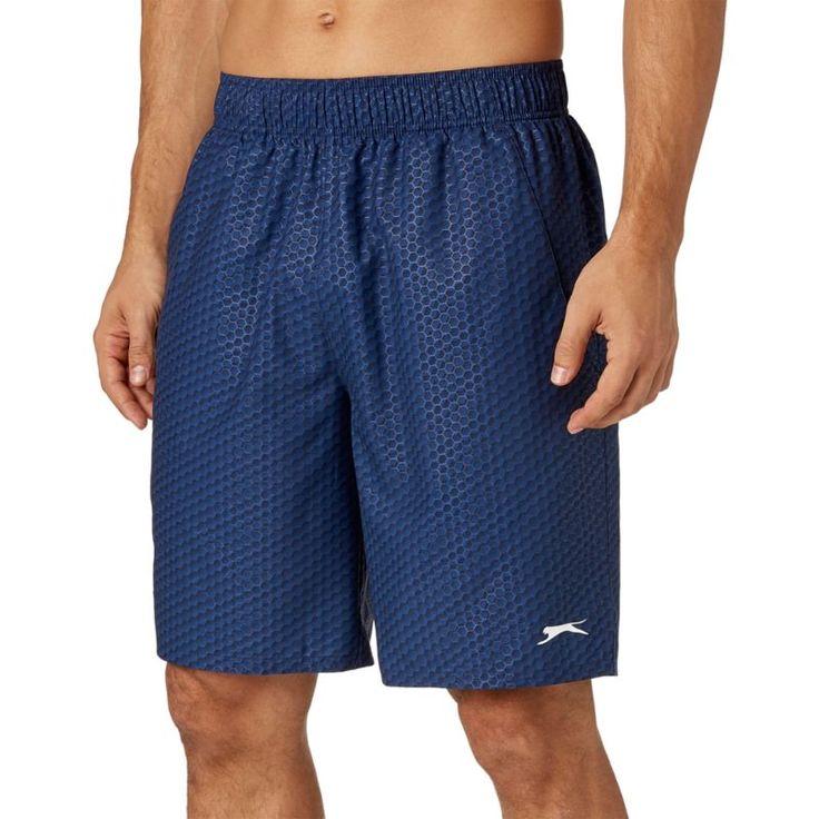Slazenger Men's Embossed-Print Tennis Shorts, Size: Medium, Blue