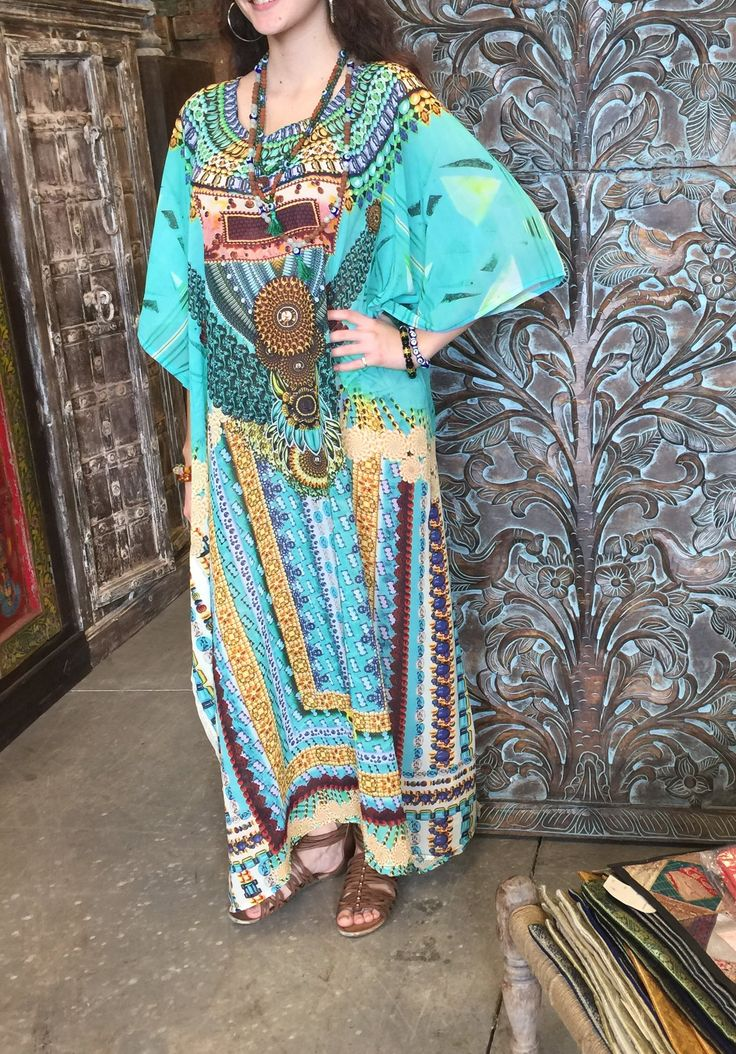 Bohemian Kaftan dresses are Very soft & comfortable, unique piece of apparel for lounging wear around your home or taking it easy at a resort/ Beach wear.
