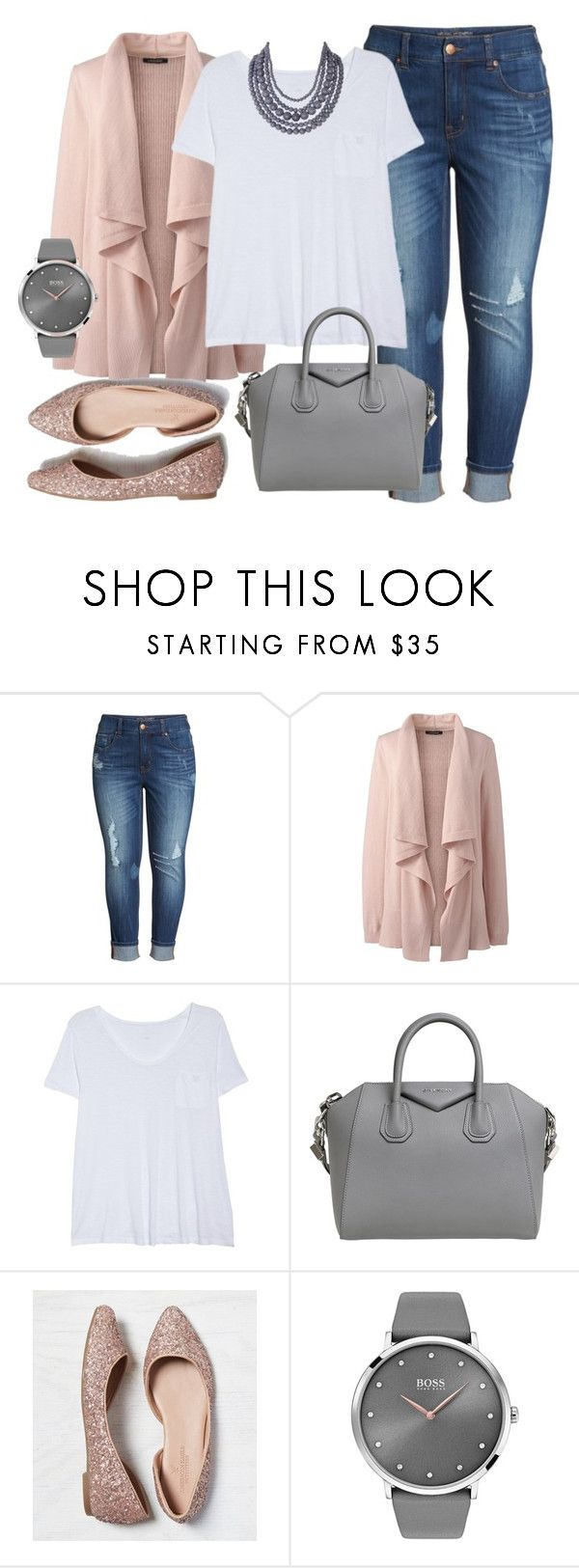 """""""Blush and Gray- Plus Size Outfit"""" by boswell0617 ❤ liked on Polyvore featuring Melissa McCarthy Seven7, Lands' End, Caslon, Givenchy, American Eagle Outfitters, BOSS Black, Humble Chic and plus size clothing"""