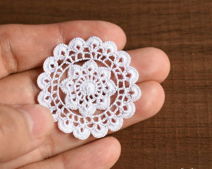 Casa de muñecas redondo tapete de 1.4 pulgadas, 1:12 crochet decoración de miniatura, tapete pequeño blanco, modelo #72
