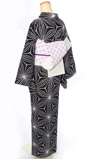 Leaf pattern and lavender obi
