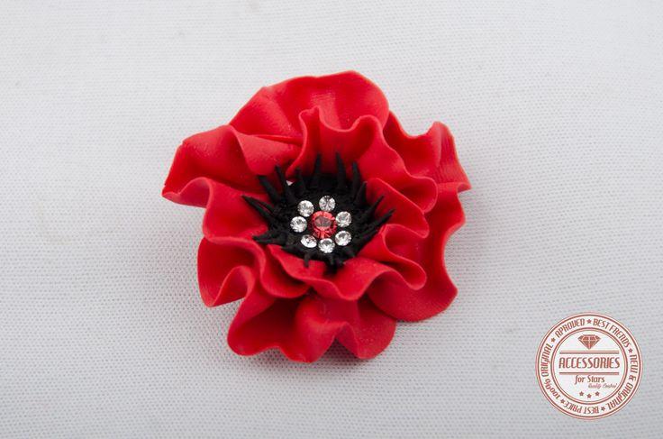 http://accessoriesforstars.blogspot.ro/ #flowers #swarovski #crystals #red #black #accessoriesforstars #brooches #poppy