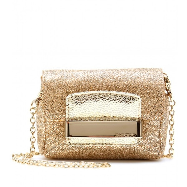 Jimmy Choo Caro Netted Glitter Clutch ($495) ❤ liked on Polyvore