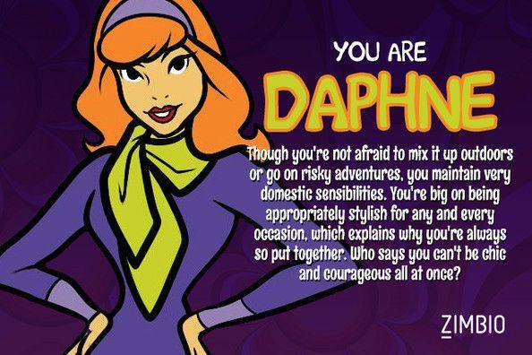 I took Zimbio's 'Scooby-Doo' character quiz, and I'm Daphne! Who are you? #ZimbioQuiz