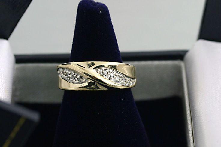 10K Yellow Gold Natural Diamond Twist Ring Band 0.10 carat 2.80 grams #Band